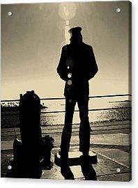 Sailor Statue Over Long Beach Harbor Acrylic Print