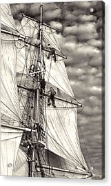 Sailors In Rigging Of Tall Ship Acrylic Print by Cliff Wassmann