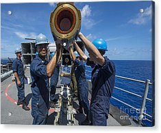 Sailors Load Rim-7 Sea Sparrow Missiles Acrylic Print by Stocktrek Images