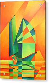Acrylic Print featuring the painting Sails At Sunrise by Tracey Harrington-Simpson
