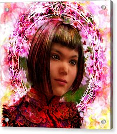Acrylic Print featuring the painting Saint Agatha Lin Zhao From China by Suzanne Silvir