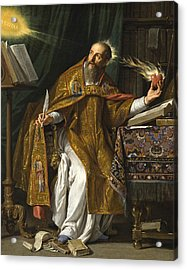 Acrylic Print featuring the painting Saint Augustine by Philippe de Champaigne