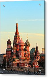 Saint Basils Cathedral On Red Square Acrylic Print by Alex Sukonkin