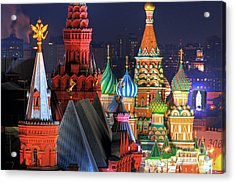 Saint Basils Cathedral On Red Square In Moscow Acrylic Print by Lars Ruecker