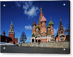 Saint Basils Cathedral On The Red Square Acrylic Print by Alex Sukonkin