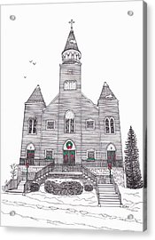 Saint Bridget's Church At Christmas Acrylic Print