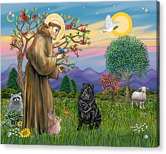 Saint Francis Blesses A Black Chinese Shar Pei Acrylic Print