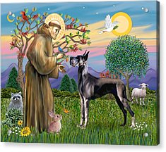 Saint Francis Blesses A Black Great Dane Acrylic Print by Jean Fitzgerald