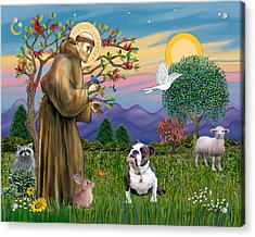 Saint Francis Blesses A Brown And White English Bulldog Acrylic Print by Jean B Fitzgerald