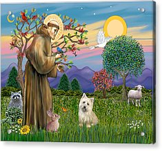 Saint Francis Blesses A Cairn Terrier Acrylic Print by Jean B Fitzgerald