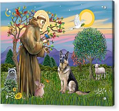 Saint Francis Blesses A German Shepherd Acrylic Print by Jean Fitzgerald