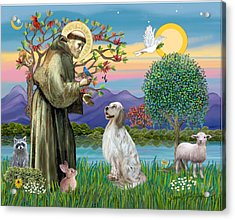 Saint Francis Blesses An English Setter Acrylic Print by Jean B Fitzgerald