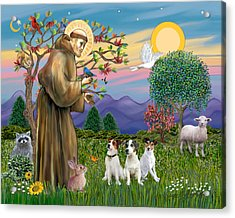 Saint Francis Blesses Three Jack Russell Terriers Acrylic Print