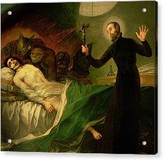 Saint Francis Borgia Helping A Dying Impenitent Acrylic Print by Goya