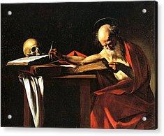 Saint Jerome Writing Acrylic Print by Caravaggio