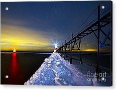 Saint Joseph Pier At Night Acrylic Print by Twenty Two North Photography
