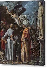 Saint Lawrence Prepared For Martyrdom, C. 1600-1 Oil On Copper Acrylic Print by Adam Elsheimer