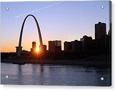 Saint Louis Arch Sunset Acrylic Print by David Yunker