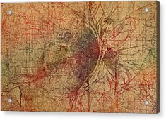 Saint Louis Missouri Street Map Schematic Watercolor On Old Parchment From 1903 Acrylic Print by Design Turnpike