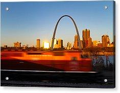 Saint Louis Morning Train Acrylic Print by David Yunker