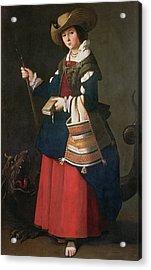 Saint Margaret Of Antioch, 1630-34 Oil On Canvas Acrylic Print by Francisco de Zurbaran