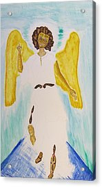 Saint Michael The Archangel Miracle Painting Acrylic Print by Debbie Nester