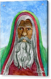 Saint Nicholas Black Old World Santa  Acrylic Print