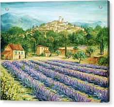 Saint Paul De Vence And Lavender Acrylic Print by Marilyn Dunlap
