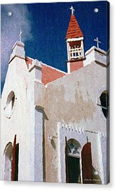 Saint Pauls Conversion Church Saba The Netherlands Antilles Acrylic Print by Susan Schroeder