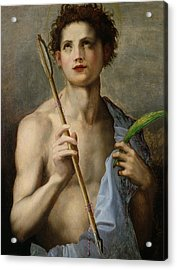 Saint Sebastian Holding Two Arrows And The Martyr's Palm Acrylic Print by Andrea Del Sarto
