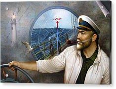 Saint Simons Island Map Captain 3 Acrylic Print