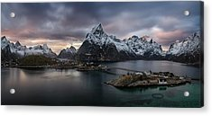 Sakrisoya Village On Reinefjorden Among Acrylic Print by Panoramic Images