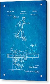 Sakwa Skateboard Brake Patent Art 1966 Blueprint Acrylic Print