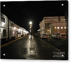 Salem Amtrak Depot At Night Acrylic Print by James B Toy