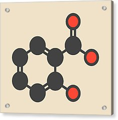 Salicylic Acid Molecule Acrylic Print by Molekuul