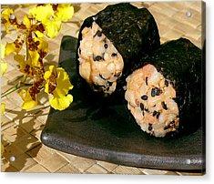 Salmon And Black Sesame Onigiri Acrylic Print by James Temple