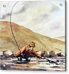 Salmon Fishing In Ireland Acrylic Print by Val Byrne