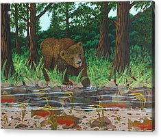Salmon Fishing Acrylic Print by Katherine Young-Beck