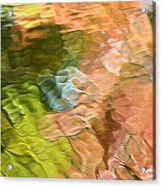 Salmon Mosaic Abstract Square Acrylic Print by Christina Rollo
