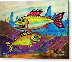 Salmon Of Colour Acrylic Print