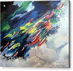 Acrylic Print featuring the painting Salmon Run by Carol Sweetwood