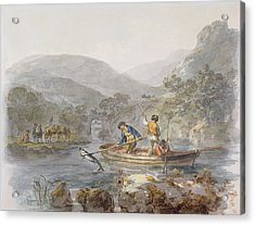 Salmon Spearing Graphite, Ink & Wc On Paper Acrylic Print by Julius Caesar Ibbetson