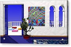 Salon Bleu Acrylic Print