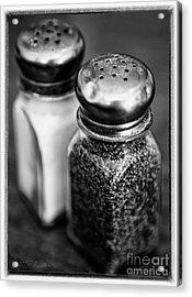 Salt And Pepper Shaker  Black And White Acrylic Print by Iris Richardson
