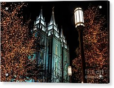Salt Lake City Mormon Temple Christmas Lights Acrylic Print