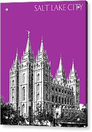 Salt Lake City Skyline Mormon Temple - Plum Acrylic Print by DB Artist