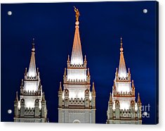 Salt Lake Lds Mormon Temple At Night Acrylic Print