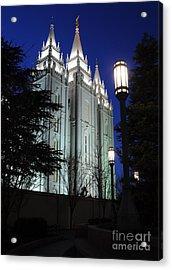 Salt Lake Mormon Temple At Night Acrylic Print by Gary Whitton