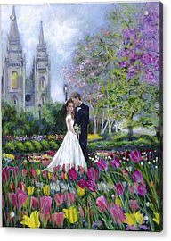 Salt Lake Temple-married In Spring Acrylic Print