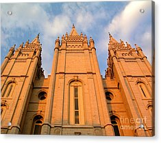 Salt Lake Temple Sunset Closeup Acrylic Print by Jenny Wood